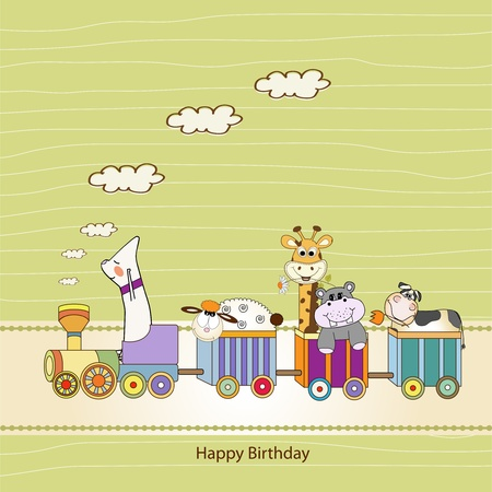 customizable birthday card with animal toys train Stock Vector - 9806342