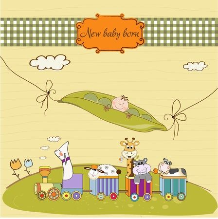 customizable birthday card with animal toys train  Vector