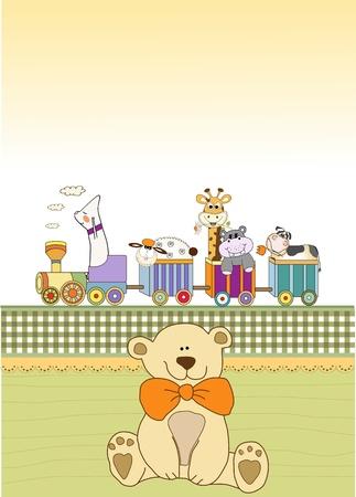 customizable: customizable birthday card with animal toys train  Illustration
