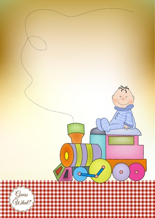 customizable birthday greeting card with train  Vector