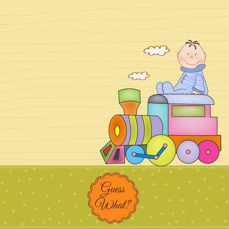 customizable: customizable birthday greeting card with train  Illustration
