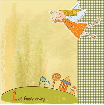 birthday card with little fairy Stock Vector - 9934192