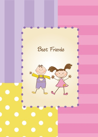 best friends greeting card  Stock Vector - 9934086