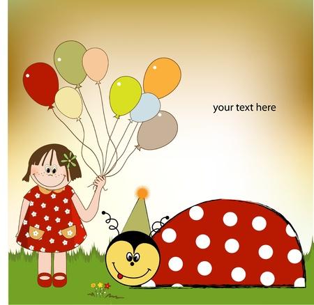 happy birthday card with ladybug Stock Vector - 9934145