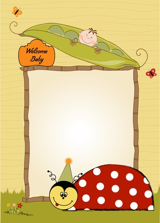 happy birthday card with ladybug  Vector