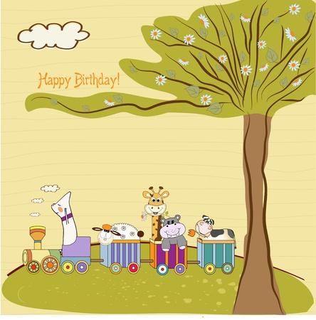birthday train: happy birthday background