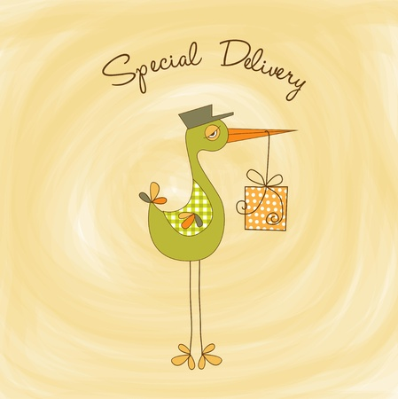 stork: welcome baby card with stork  Illustration