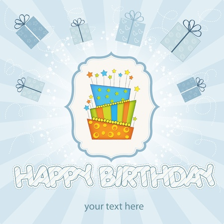 vector big birthday cake with burning candles Stock Vector - 9934500