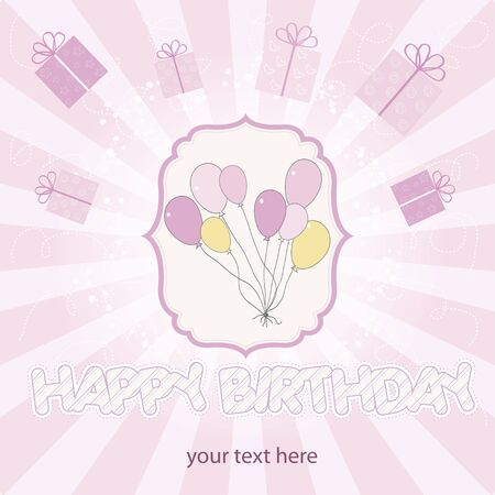 birthday cake with balloon  Stock Vector - 9934463