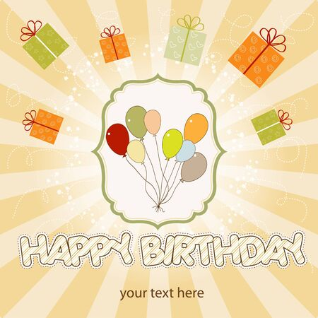 birthday card with balloon Stock Vector - 9934492