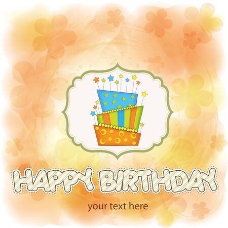 vector big birthday cake with burning candles Stock Vector - 9934280