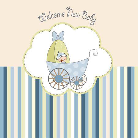 carte d'annonce de douche de bébé avec landau