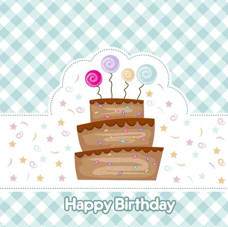 checkered label: birthday cake