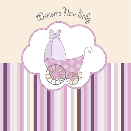 abstractly: baby shower announcement card with pram  Illustration