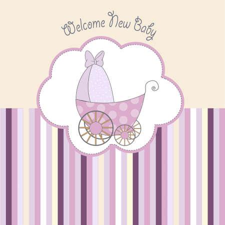tarjeta de presentaci�n de ducha de beb� con pram
