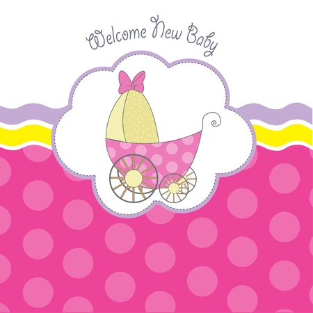 baby shower announcement card with pram  Vector