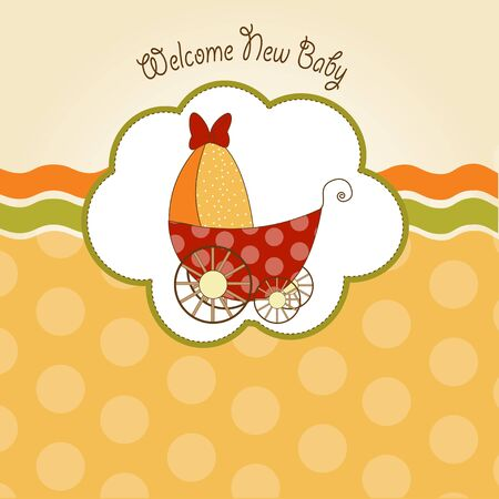 baby shower announcement card with pram Stock Vector - 9934281