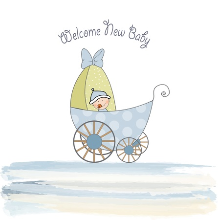 adoring: baby shower announcement card with pram  Illustration