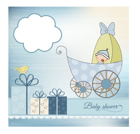 baby shower announcement card with pram Stock Vector - 9934264