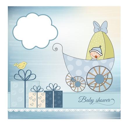 carte d'annonce de bébé de douche avec poussette