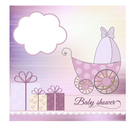 baby shower announcement card with pram Stock Vector - 9934257