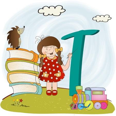 children alphabet letters  t  Vector