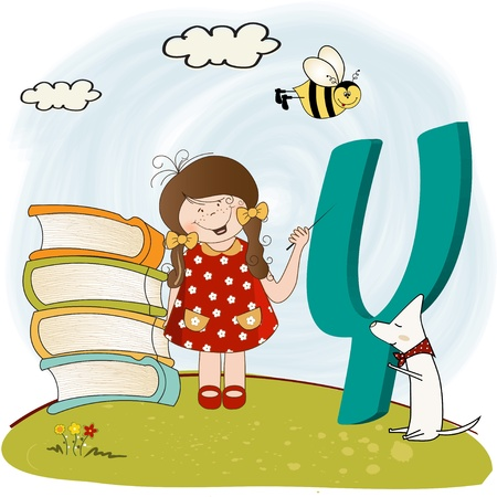 children alphabet letters y  Vector