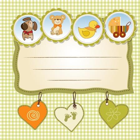 baby duck: New Baby card annuncio Vettoriali