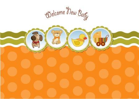 pram: new baby announcement card