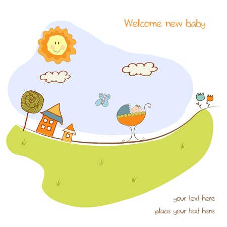 child birth: baby shower announcement card with pram  Illustration