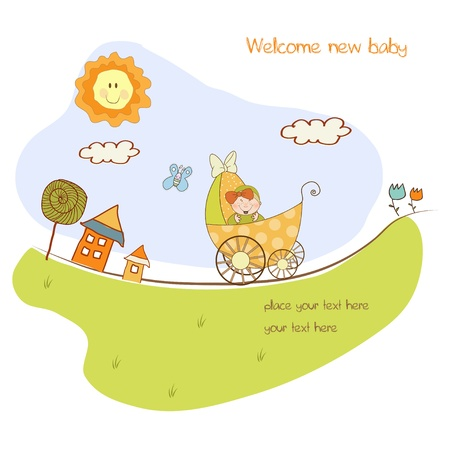 new arrival: baby shower announcement card with pram  Illustration