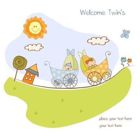 buonanotte: carta di annuncio bambino doccia con carrozzina