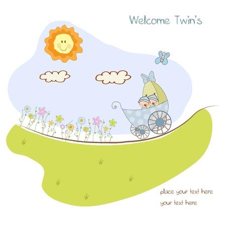 cochecito de bebe: tarjeta de presentaci�n de ducha de beb� con cochecito  Vectores