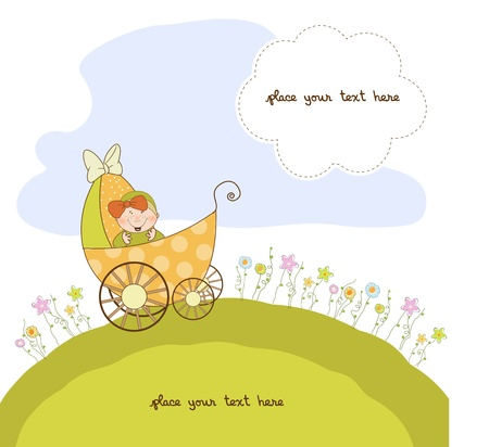 born: baby shower announcement card with pram  Illustration