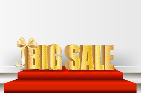 large store: 3D big sale, made of pure, beautiful luxury gold