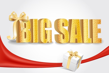 3D big sale, made of pure, beautiful luxury gold  Vector