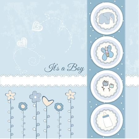 happy birthday baby: nueva tarjeta de presentaci�n de beb� con avi�n  Vectores