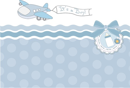 baby boy shower: new baby announcement card with airplane