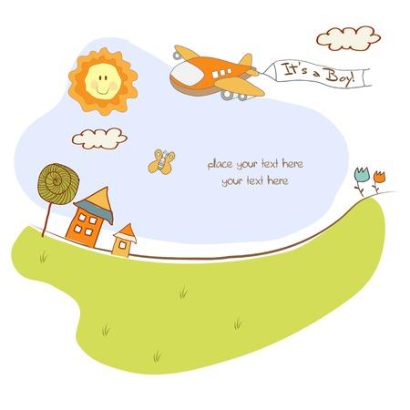 invitacion bebe: nueva tarjeta de presentaci�n de beb� con avi�n  Vectores