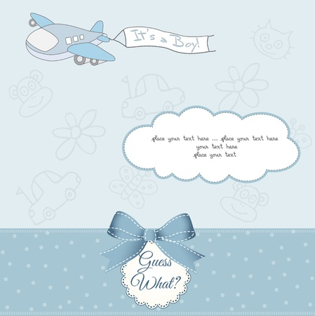 new baby announcement card with airplane  Vector