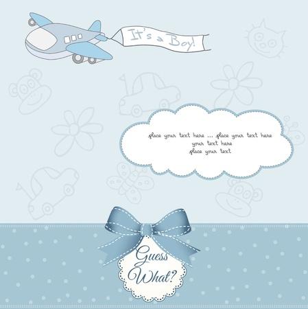 bebe sentado: nuevo beb� anuncio de la tarjeta con el avi�n Vectores