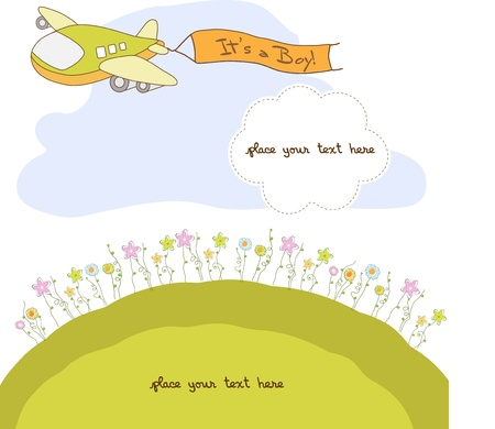 baby announcement card: new baby announcement card with airplane