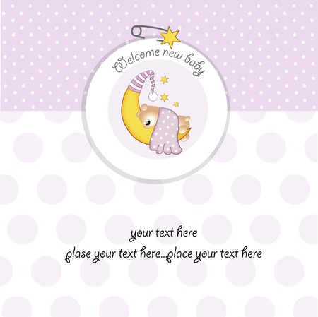 baby announcement card: baby girl shower card Illustration