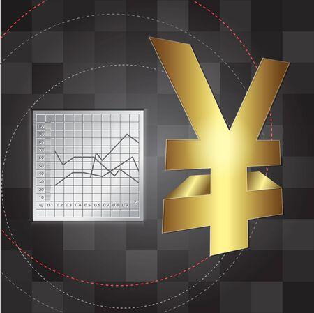 yen sign: antecedentes financieros signo 3d yen Vectores
