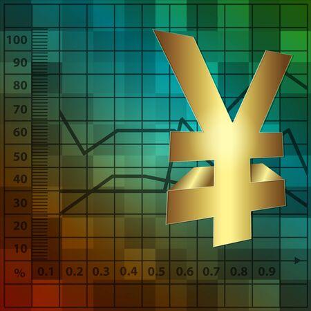 financial background 3d yen sign Stock Vector - 10586994