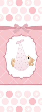 carte de douche de bébé fille Vecteurs