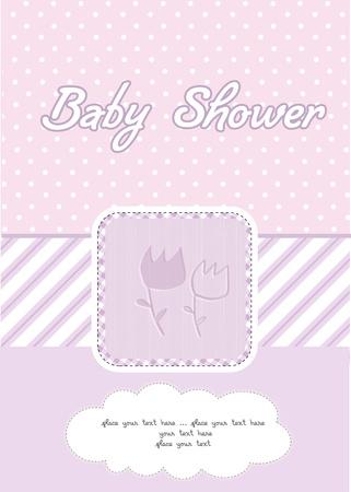 baby girl shower card  Stock Vector - 10586917
