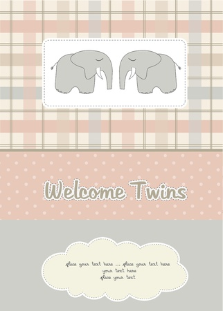 twins baby shower card with two elephants Illustration