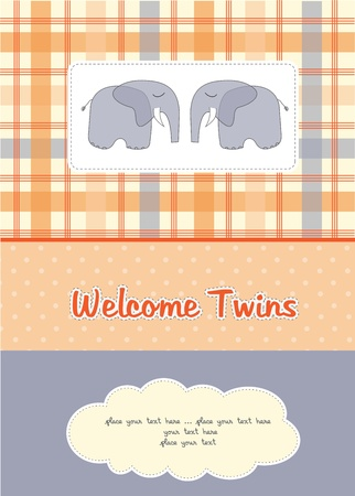 sweet background: twins baby shower card with two elephants Illustration