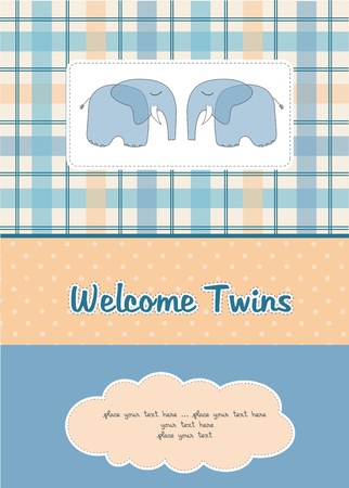 twins baby shower card with two elephants Vector